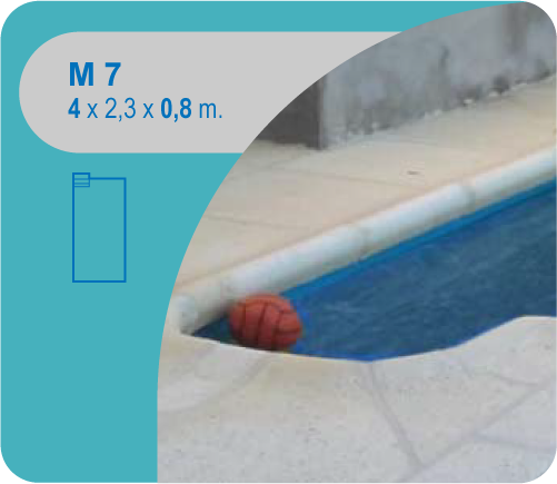 Rectangular con Escaleras en Rincón M7 4 x 2,30 0,80