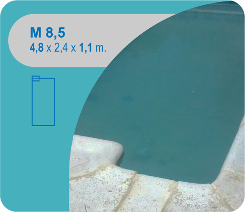 Rectangular con Escaleras en Rincón M8,5 4,80 x 2,40 x 1,10